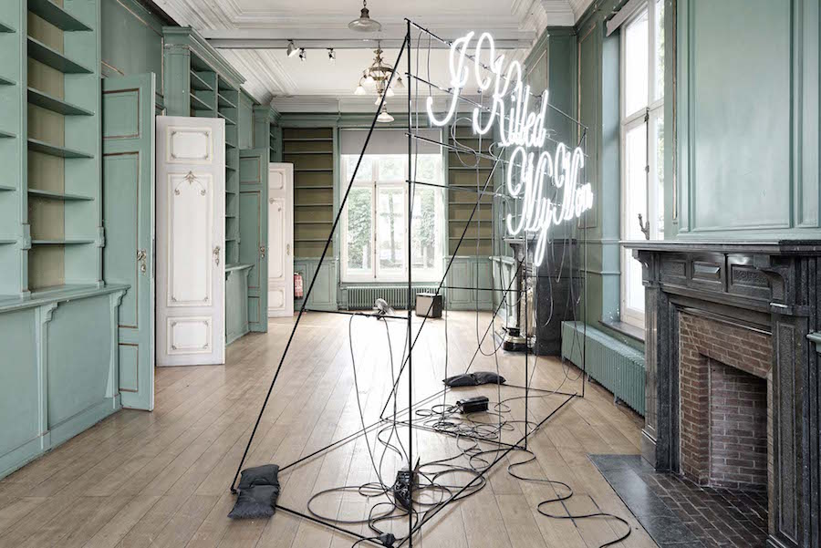 Jonathan Sullam, I killed my mom, 2015, black metal and blown neons, 300 x 140 x 240 cm, ​ph. M. Falke, courtesy of Maison des Arts de Schaerbeek