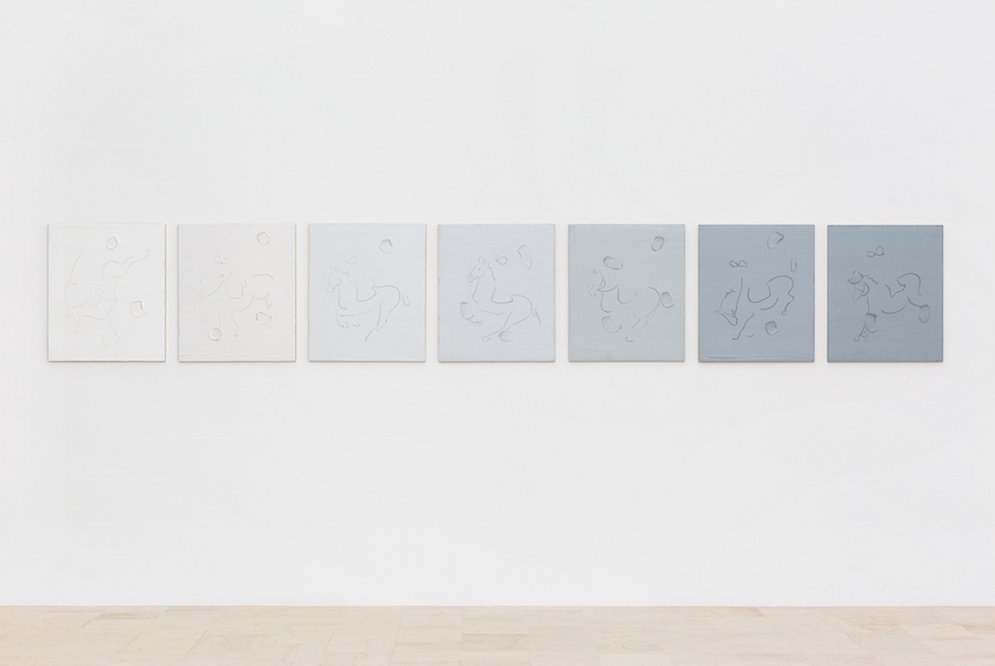 Riccardo Baruzzi,   Quasi quindici chili di grigi,   2016,   matita grassa su olio su tavola : grease pencil on oil on board,   cm.70x60 ciascuno : each (7 tavole : 7 boards) Courtesy P420 Bologna photocredit Carlo Favero