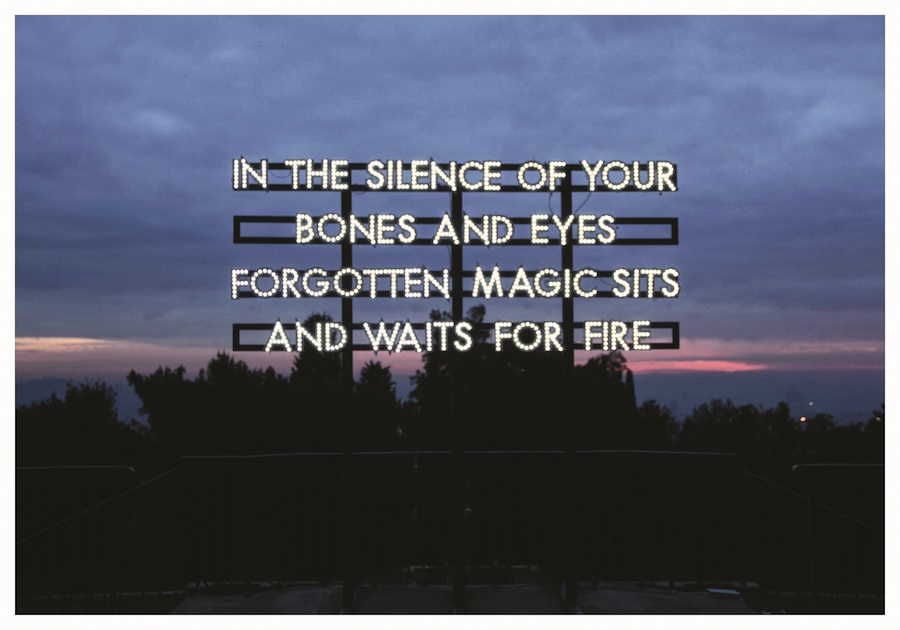 Robert Montgomery, In the silence of your bones, 2013 LED, struttura in legno verniciata cm 280 x 315 x 180