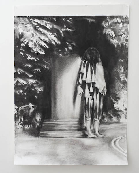 Alessandro Scarabello, The Hitch-hiker, 2016, charcoal on paper, cm 105 x 75, courtesy The Gallery Apart, Rome