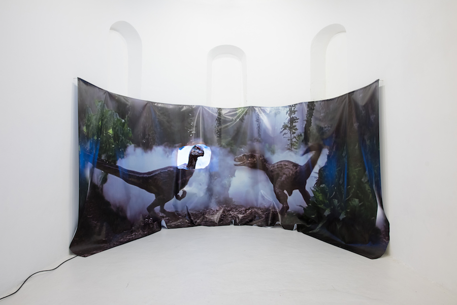 Catherine Biocca, DEUTSCHER FUERST, video and audio installation, pvc print, screen, dimensions variable,installation view at Mission Gallery, Swansea, 2016'