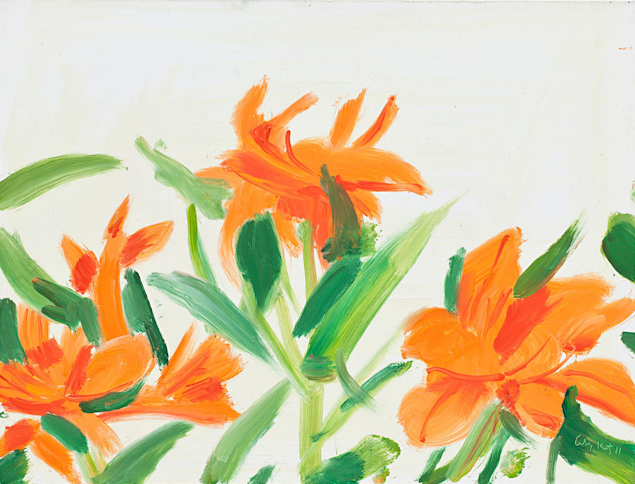 Alex Katz,   Flowers 1,   2011 oil on board cm 23 x 30 - Courtesy Monica De Cardenas,   Milan