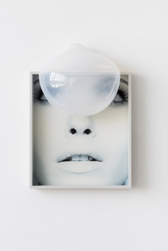Gabriele Beveridge,   Untitled,   2016. Found poster,   hand-blown glass,   artist frame. 43 x 63 x 20cm. Courtesy: Chewdays,   London,   and the artist.
