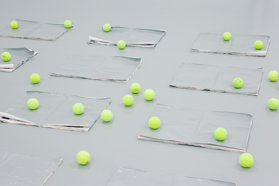 Alina Chaiderov,   Untitled,   2015 (detail),   Newspaper,   paint,   Wilson tennis balls,   Variable dimensions - Courtesy the artist and Antoine Levi,   Paris