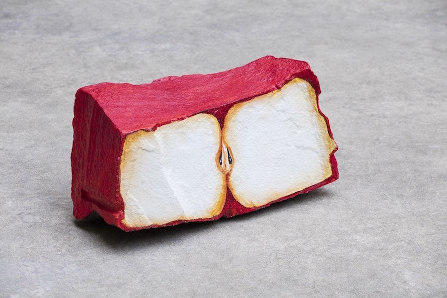 Nicolas Party,   Blakam stone (apple),   2013,   acrylic on stone. ©Andrea Rossetti. Courtesy of the artist and kaufmann repetto,   Milano-New York