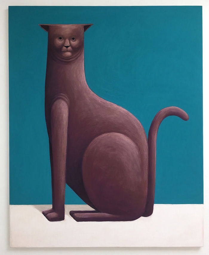 Nicolas Party,   Cat,   2016,   pastel on canvas. Courtesy of the artist and kaufmann repetto,   Milano-New York