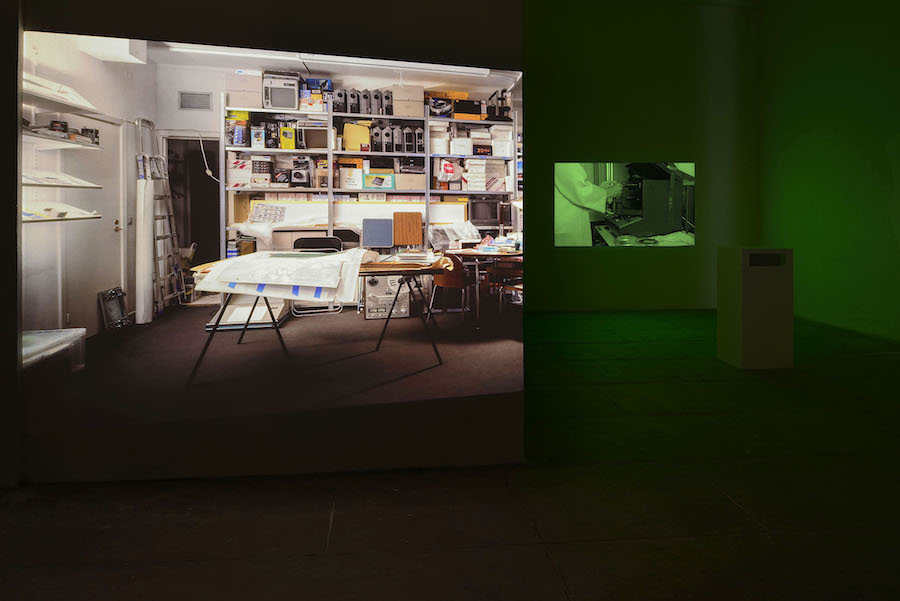 Tris Vonna-Michell Punctuations & Perforations,   2016 HD video projection,   mono soundtrack on speaker and medium format slide projection 11 min 15 sec Courtesy of the Artist and T293. Photo credit: Roberto Apa.