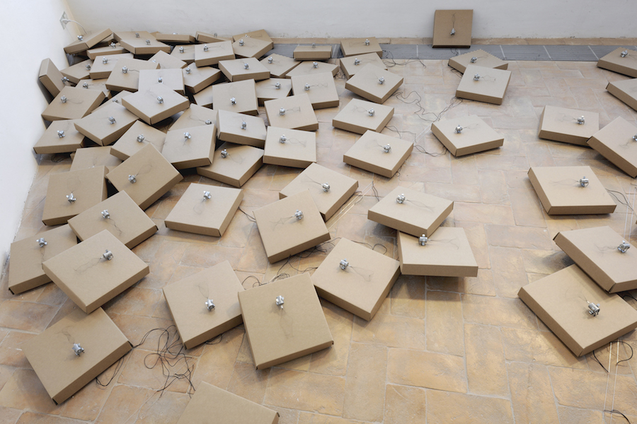 Zimoun, 130 prepared dc-motors, wire isolated, cardboard boxes 30x30x5cm. Credits Paolo Terzi