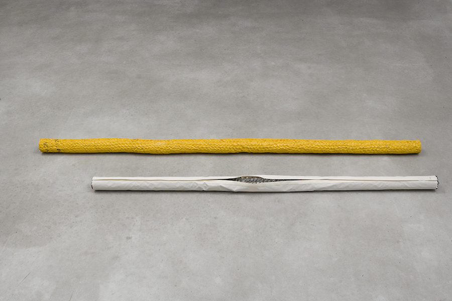 Piotr Łakomy, Untitled, 2015, reflective fabric, velcro, aluminum honey comb, aluminum pipe - cm 183 x 7 ø / road tape, aluminum honey comb, aluminum pipe, varnish - cm 223 x 8 ø