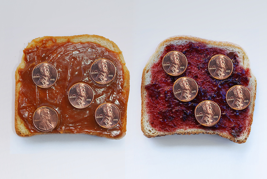 QUINTESSA MATRANGA,   Bearly Surviving (3),   2016 - Bread,   peanut butter,   jam,   coins