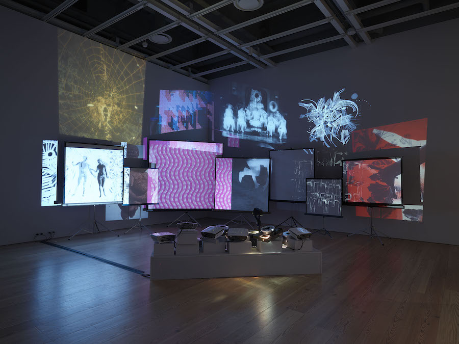 "Installation view of ""Dreamlands: Immersive Cinema and Art,   1905-2016"" (Whitney Museum of American Art,   New York,   October 28,   2016-February 5,   2017). Stan VanDerBeek,   Movie Mural,   (1968) E.2016.1545. Photography by Ronald Amstutz"