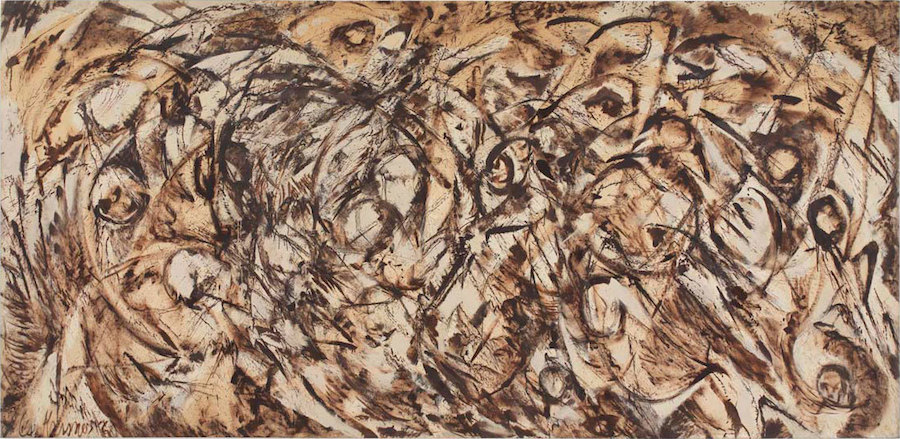 Lee Krasner,   The Eye is the First Circle,   1960. Oil on canvas. 235.6 x 487.4 cm. Courtesy Robert Miller Gallery,   New York. © ARS,   NY and DACS,   London 2016 Photo Private collection,   courtesy Robert Miller Gallery,   New York