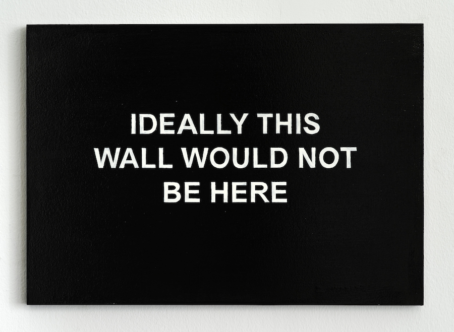 Laure Prouvost IDEALLY THIS WALL WOULD NOT BE HERE,   2014 oil and varnish on board 30 x 40 cm - Courtesy dell'artista e carlier | gebauer,   Berlino; Nathalie Obadia,   Parigi
