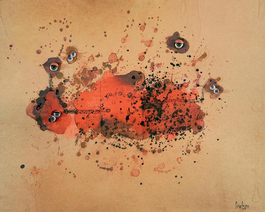 Carol Rama,   Bricolage 1967 Glass eyes,   Chinese ink and gouache on paper 43,  5 x 54,  5 cm Private collection,   Torino Photo: Tommaso Mattina