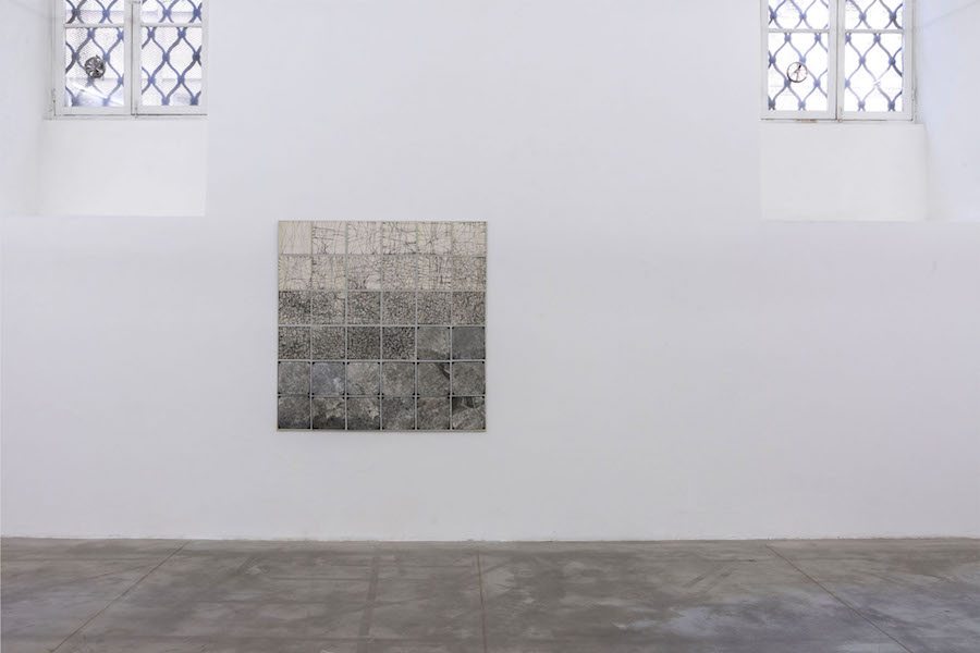 Elisa Montessori,   Tropismi,   1977,   collage on white gauze and cardboard,   installation view at Monitor,   Rome
