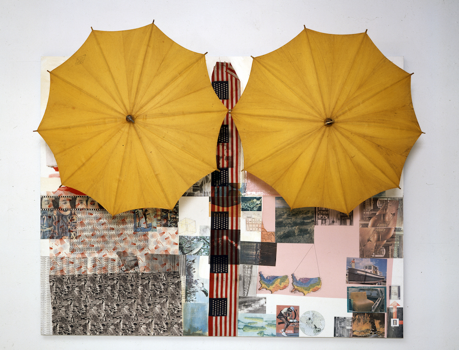 Robert Rauschenberg Untitled (Spread)  1983 Solvent transfer and acrylic on wood panel,   with umbrellas 188.6 x 245.7 x 88.9 cm  © Robert Rauschenberg Foundation,   New York