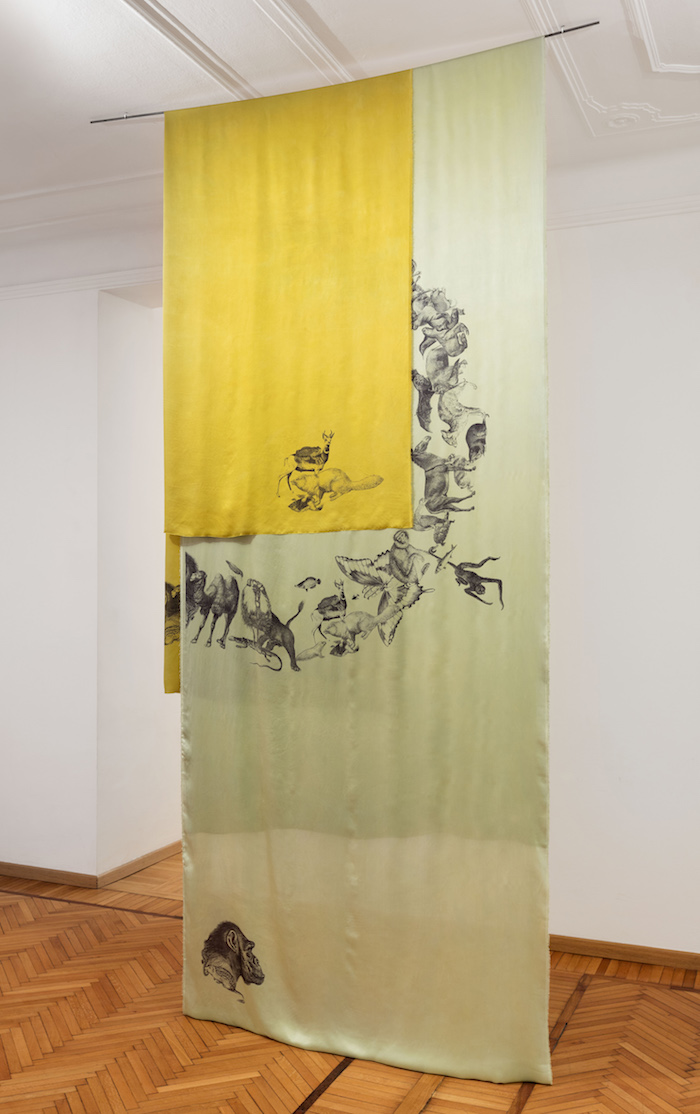 Claudia Losi, Untitled_Animals, 2017 digital print on natural tinctures, silk satin 2 pieces: Yellow cm 450 x 135 and light green cm 600 x 135 - Courtesy Galleria Monica De Cardenas, Milano credit Andrea Rossetti