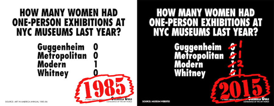 Guerrilla Girls, How Many Women Had One-Person Exhibition at NYC Museums Last Yesr?, 2015, Courtesy the Guerrilla Girls