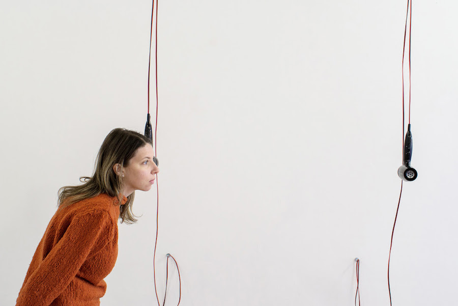 Simone Monsi, EVERYONE GOES THROUGH THIS PHASE AT SOME POINT [det. #2] - hairdryers + speakers, audio track 3:57 min. (loop),variable dimension, 2017. photo credits Marco Fava