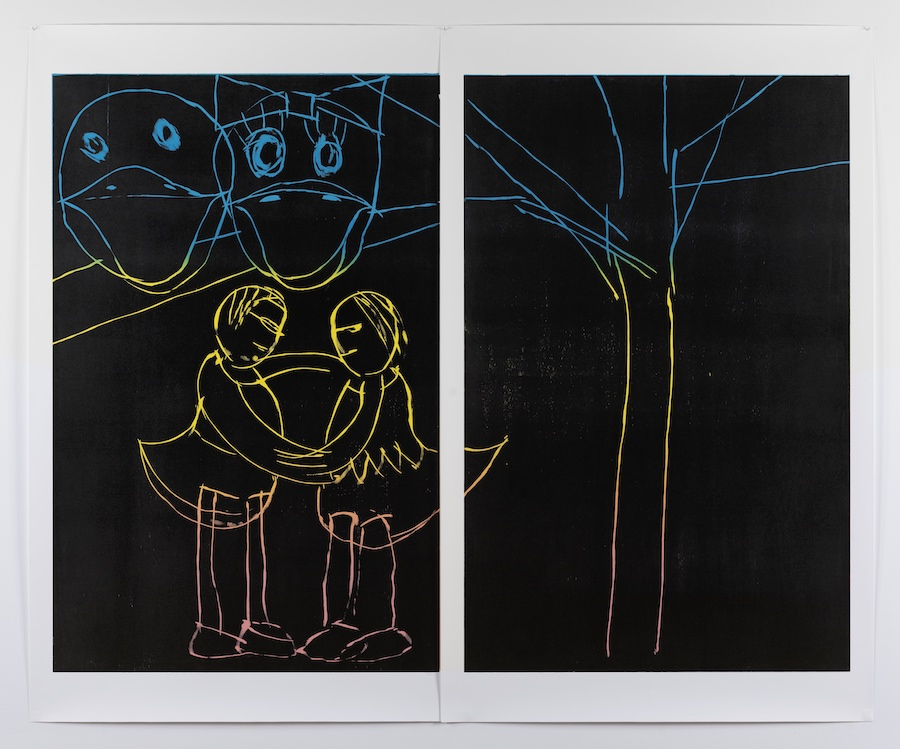 Andrea Büttner, Duck and Daisy, 2015Woodcut180 x 123 ( x 2) cm Courtesy the artist, Hollybush Gardens, London and David Kordansky Gallery, Los Angeles. © Andrea Büttner / VG Bild-Kunst, Bonn 2017