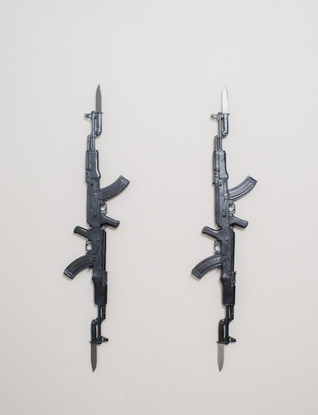 Ak-474-kA (lovefully right) - ceramics + steel/iron alloy, cm. 150x40x6 [each], 2016. photo credit Marco Fava