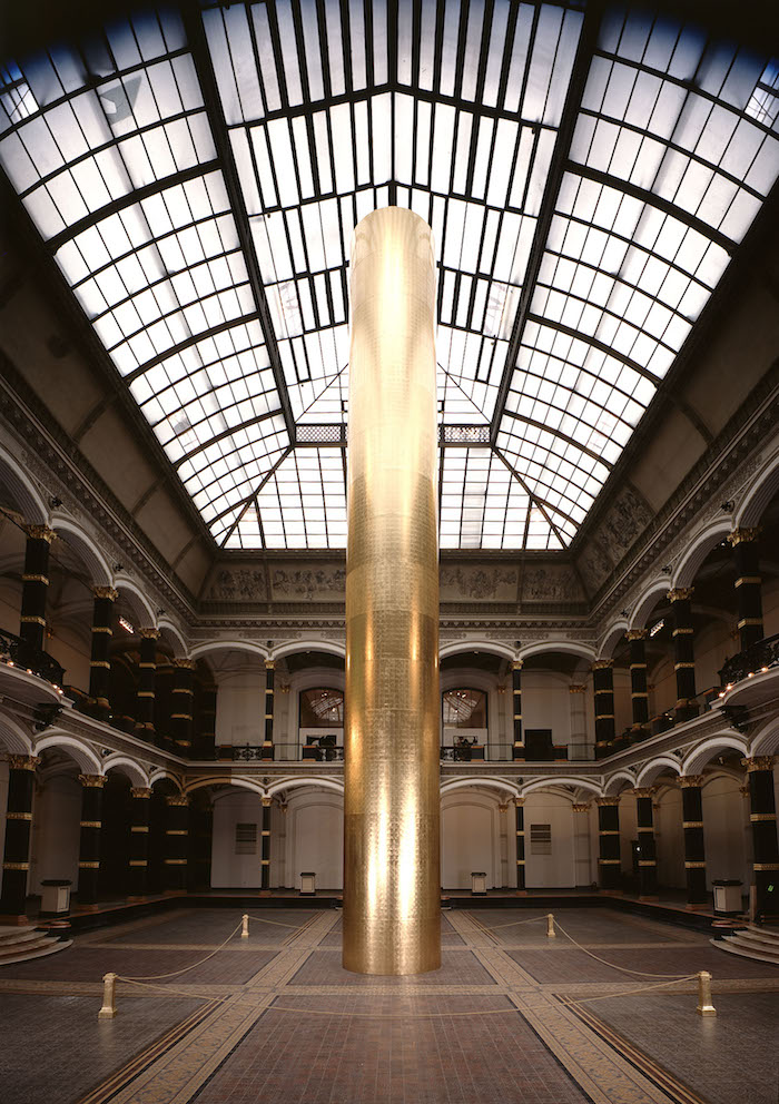 James Lee Byars, The Golden Tower, on view in 1990 at the Martin-Gropius-Bau in Berlin.
