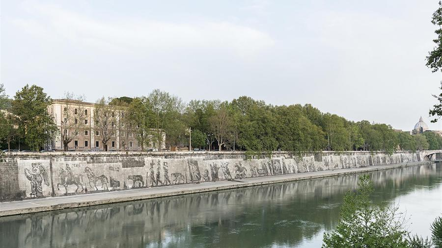William Kentridge sul Lungotevere