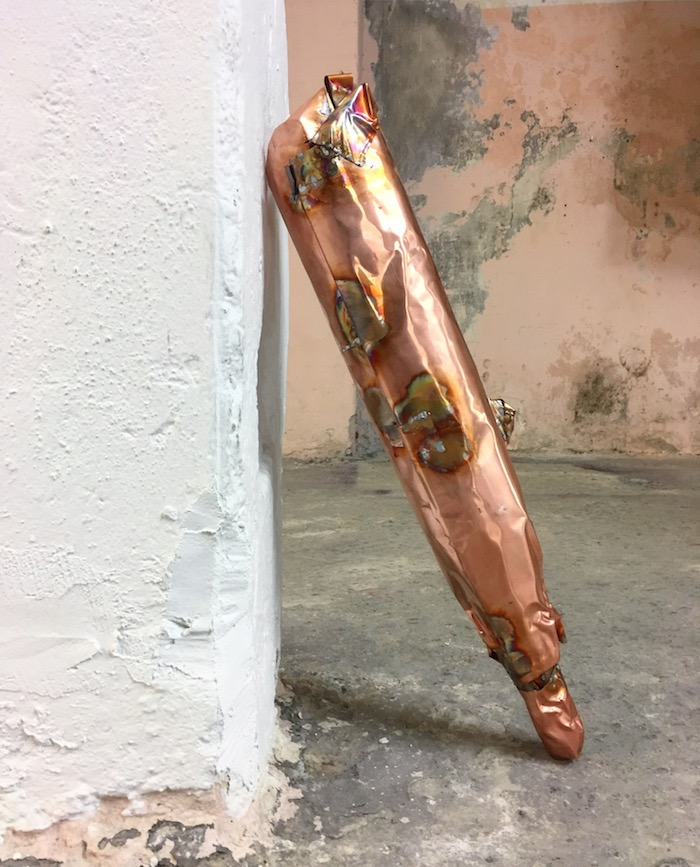 Cheap imitations: exhaustion pipes, copper sheets, dimensions variable, 2017, studio view, part of 'Exhausted' show