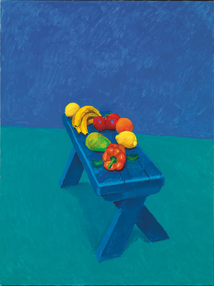David Hockney Fruit on a Bench 6th, 7th, 8th March 2014 Acrylic on canvas, 121.9 × 91.4 cm © David Hockney; Photo credit: Richard Schmidt