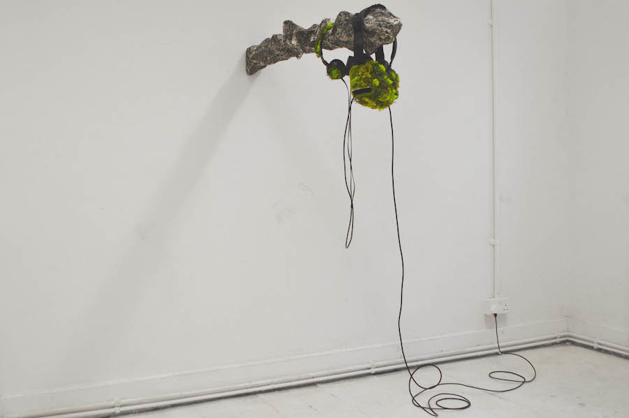 Bob Bicknell-Knight, A Mountain Walk (2017). Gear VR, virtual reality app, iPhone 4s, headphones, plastic, wood, stainless steel, grass fibres, scenic lichen, miscellaneous wires. Dimensions variable. Courtesy the Artist