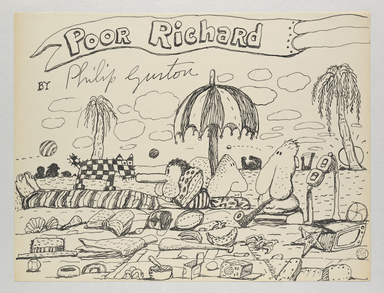 Philip Guston, Untitled (Poor Richard) 1971 Ink on paper 26.7 x 35.2 cm  - © The Estate of Philip Guston  Courtesy the Estate and Hauser & Wirth  Photo: Genevieve Hanson
