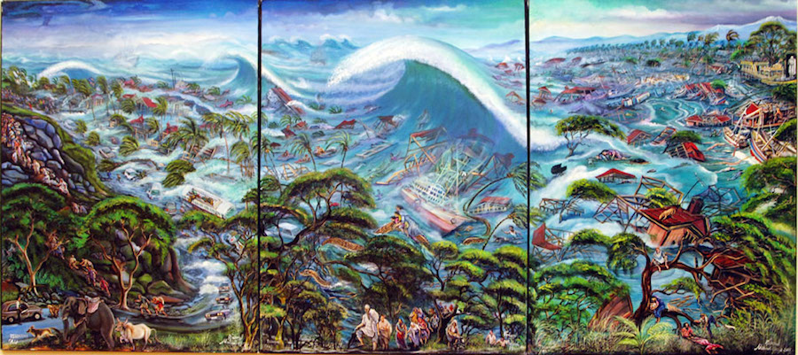 Onyango_Tsunami, 2005, trittico, acrilico su tela, Courtesy CAAC - The Pigozzi Collection, Ginevra