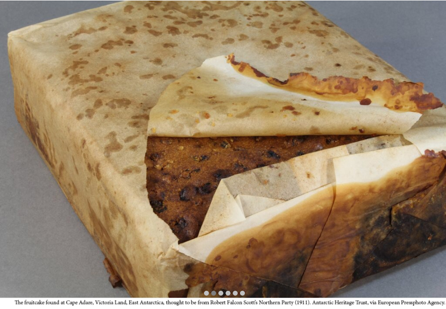 The fruitcake found at Cape Adare, Victoria Land, East Antarctica thought to be from Robert Falcon Scott's Northen Party (1911). Antarctic Heritage Trust, via European Presphoto Agency