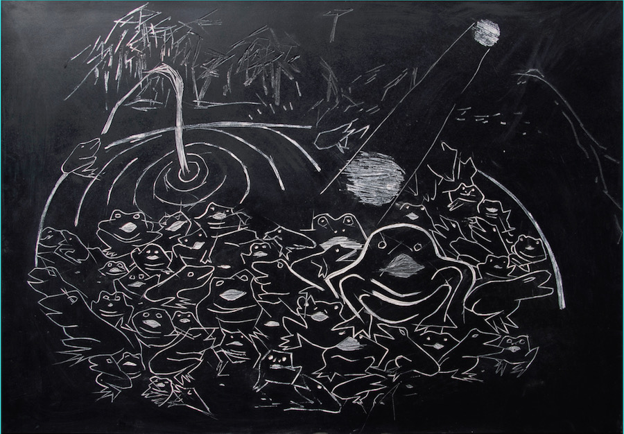 Gaia Fugazza, Lake of singing frogs, 2016. Rubber and chalk