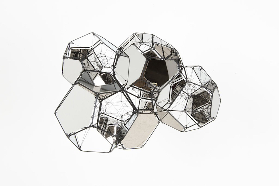 Tomas Saraceno, GJ 179 b/M+M, 2017, metal, mirror panels, polyester rope, fishing line, steel thread, 53 x 71 x 54 cm, unique