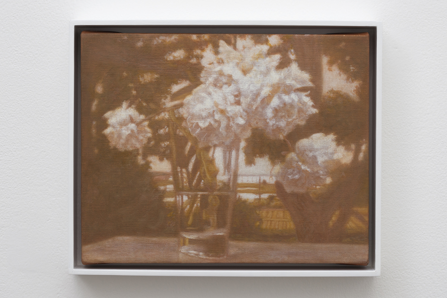 Matvey Levenstein , Flowers In The Landscape, 2017, Oil on linen, 20.5 x 25.5 cm - Courtesy Galleria Lorcan O'Neill - 2017