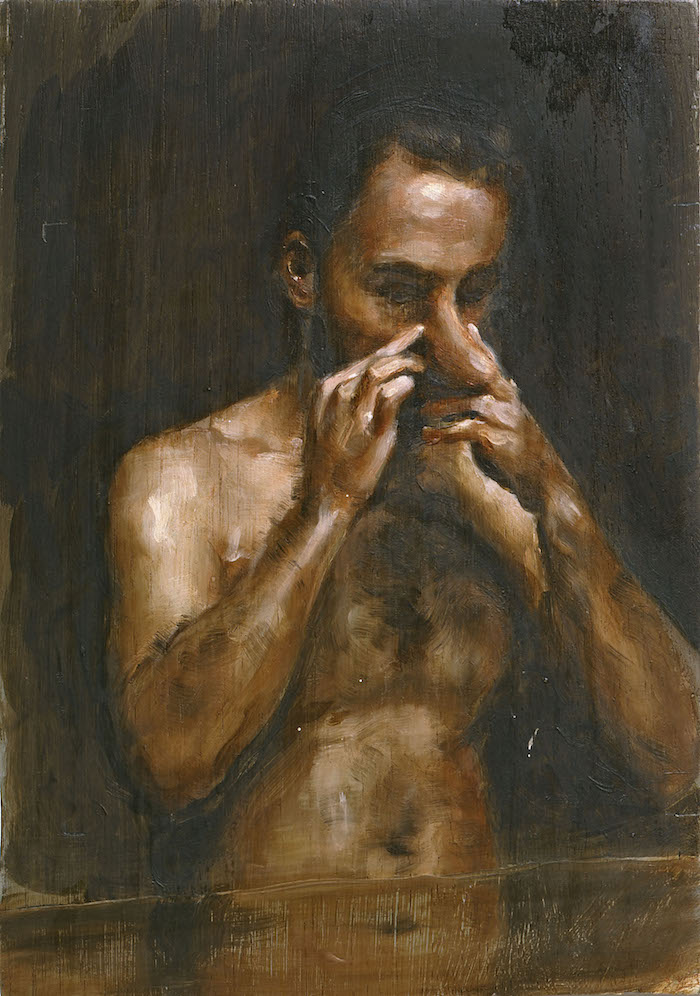 Michaël Borremans The Measure II 2007 olio su legno / oil on wood 27,8x19,7