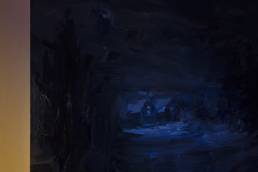 A Mind of Winter, Yan Pei Ming, Dreaming of a Winter Night there, 2018, det. Oil on canvas, 130 x 200 cm; Courtesy Galleria Massimo De Carlo, Milan / London, Hong Kong Ph. Andrea Rossetti, @Giorgio Pace Projects