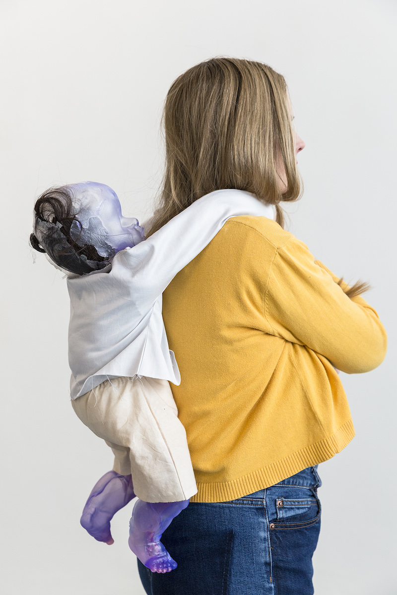 Lucia Leuci, Sculpture 5 (hug), 2017, Resin, fabric, synthetic hair, stuffing, yarn, nacre - 64x150x16 cm, Holder Barbora Fastrová, Photo Jan Kolský, Courtesy of the artist and Polansky Gallery