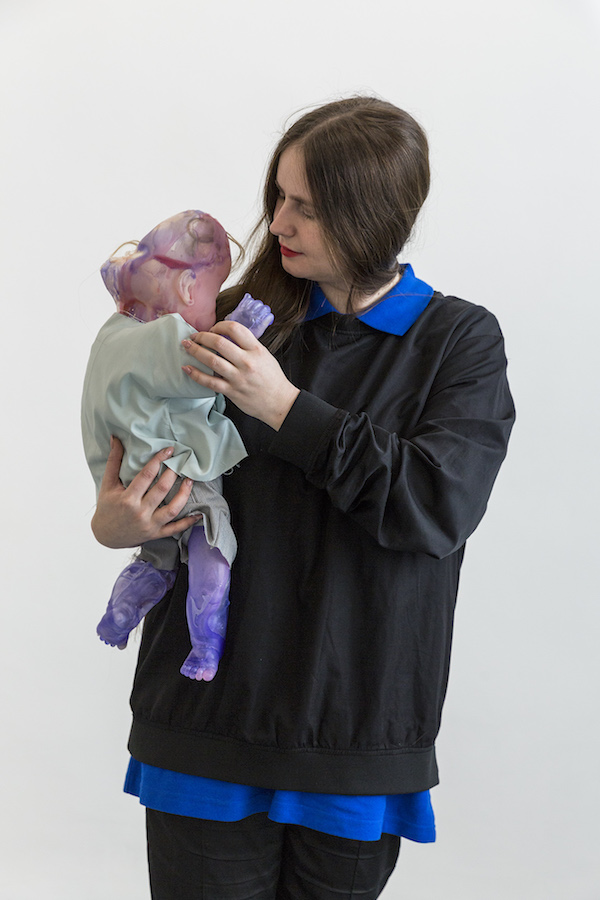 Lucia Leuci, Sculpture 4, 2017, Resin, fabric, synthetic hair, stuffing, yarn, plastic, nacre - 64x50x16 cm, Holder Nik Timková, Photo Jan Kolský, Courtesy of the artist and Polansky Gallery