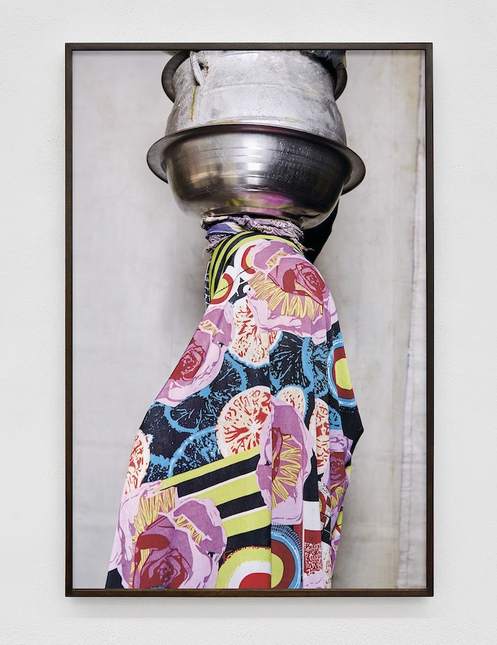 Lorenzo Vitturi, White Tarpaulin, Chinese Cloth and Ewe Agoin, 2017 archival pigment print, anti-glare glass, 130 × 86 cm - Photo by Roberto Apa - Courtesy of the Artist and T293, Rome