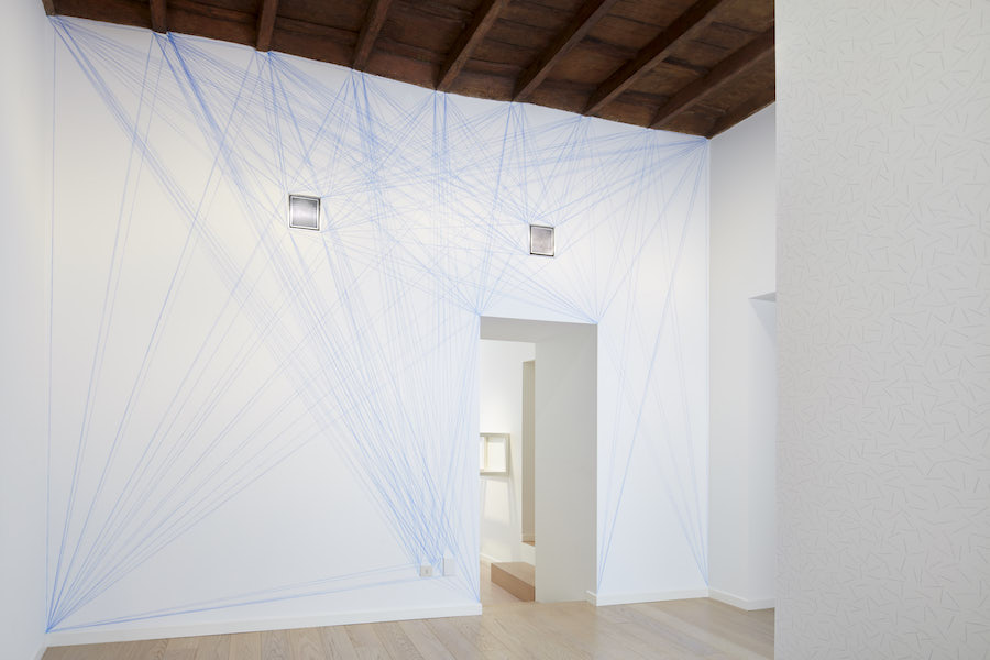 Sol LeWitt, Wall Drawing #51: All architectural points connected by straight lines, 1970, Blue snap lines | First drawn by: Pietro Giacchi, Andrea Giamasso, Giulio Mosca | First installation: Galleria Sperone, Torino, June 1970 - LeWitt Collection, Chester, CT - Courtesy Estate of Sol LeWitt - Installation view Sol LeWitt, Between the Lines, 2017, Fondazione Carriero  Photo: Agostino Osio