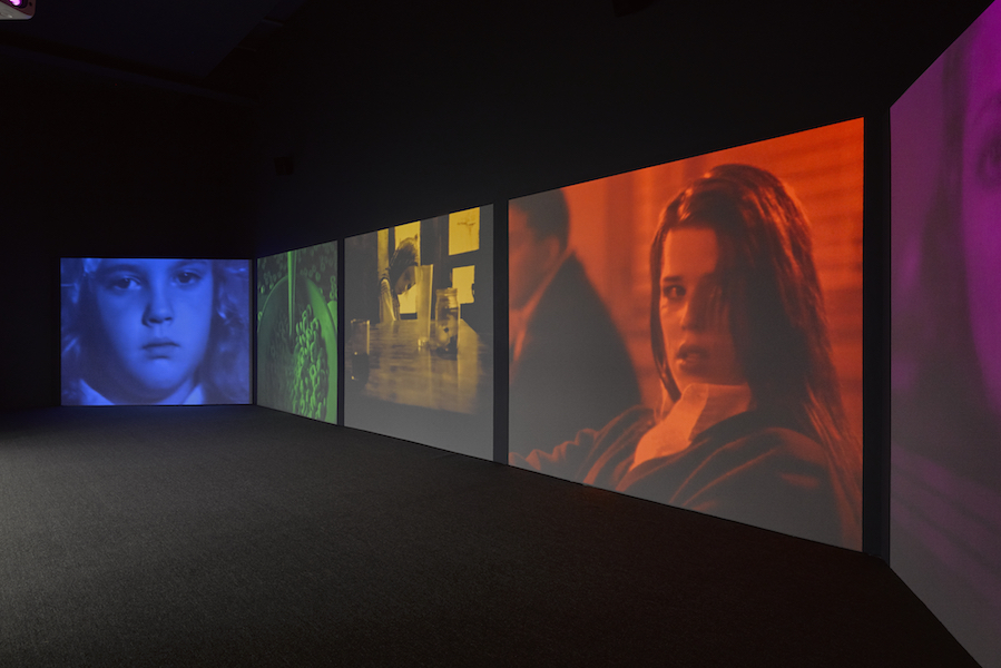 Susan Hiller, Psi Girls, 1999, video installation: 5 synchronised programmes, 5 projections, colour with stereo sound, real-time audio processing. Programme duration 20 minutes. Installation view, Lisson Gallery, New York, USA.  © Susan Hiller. Courtesy Lisson Gallery. Photography: Jack Hems.