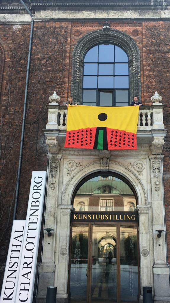 #WHATIF, Larry Achiampong, 'PAN AFRICAN FLAG FOR THE RELIC TRAVELLERS' ALLIANCE', 2017. Installation view, Kunsthal Charlottenborg, 2018