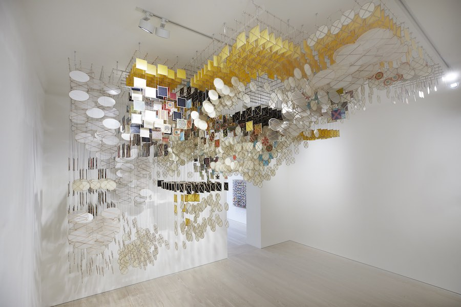 Jacob Hashimoto, The Dark Isn't The Thing to Worry About, 2018, Acrylic, paper, bamboo, wood, resin and Dacron, Dimensions variable, Galerie Forsblom
