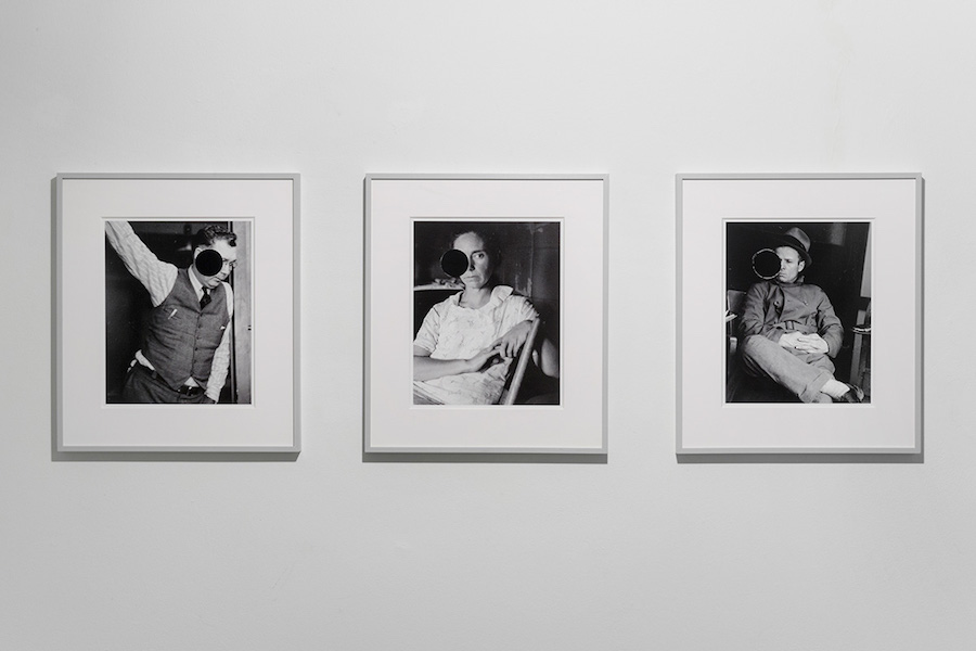 William E. Jones Triptych of Killed Portraits (Arthur Rothstein, Ben Shahn), 2018 Hand coated ink-jet prints 41×32,5 cm (each)  Courtesy dell'artista e Galleria Raffaella Cortese, Milano Photocredit Lorenzo Palmieri