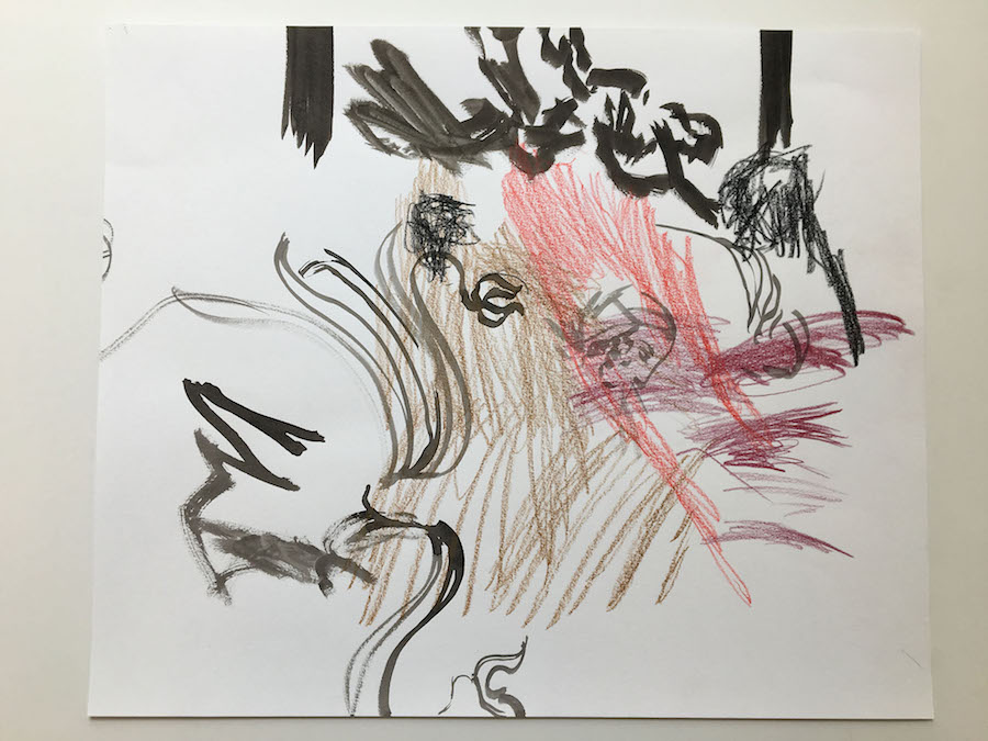 Nick Mauss, 2017, Untitled, drawing on paper, 14 x 17 inches (35,56 x 43,18 cm)