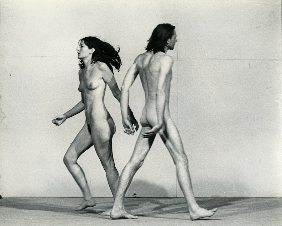 "Ulay/Marina Abramović Relation in Space 1976, video 1⁄2"" VHS trasferito su supporto digitale (b/n, sonoro), 59'28"". New Y ork, Abramović LLC. Courtesy of Marina Abramović Archives e LIMA, MAC/2017/036. Courtesy of Marina Abramović Archives. Marina Abramović by SIAE 2018"