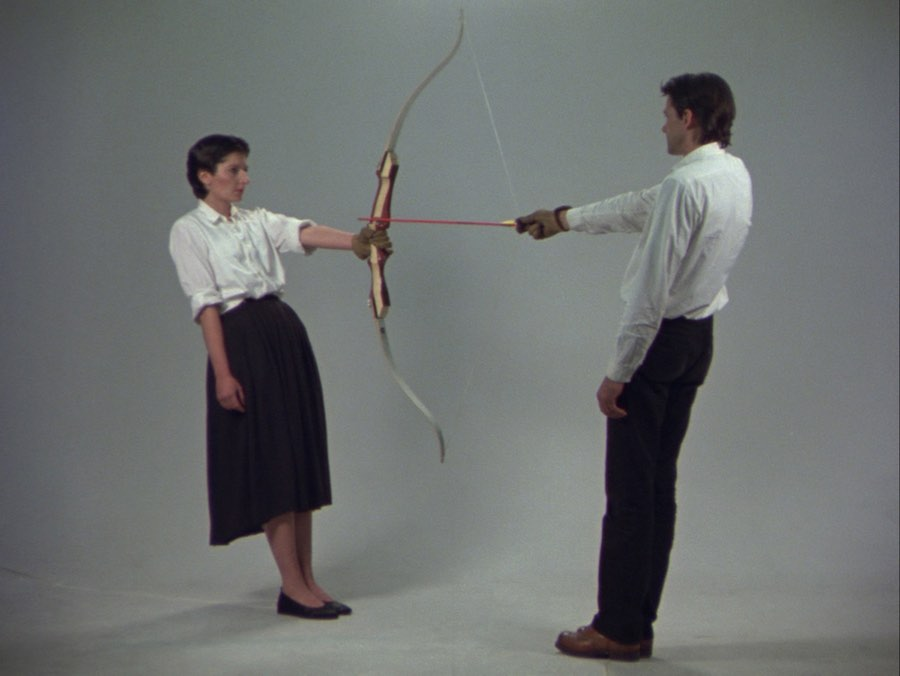 "Ulay/Marina Abramović Rest Energy 1980, video 16mm trasferito su supporto digitale (colore, sonoro), 4'04"". Amsterdam, LIMA Foundation. Courtesy of Marina Abramović Archives e LIMA, MAC/2017/034. Credit: © Ulay/Marina Abramović. Courtesy of Marina Abramović Archives. Marina Abramović by SIAE 2018"