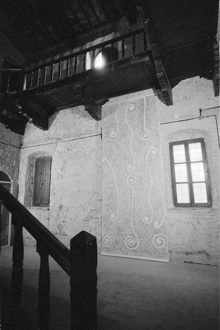 Eliseo Mattiacci - Installation view, Palazzo Mazzancolli, Terni, Italy, 1982 - Copyright the Artist Courtesy of Richard Saltoun Gallery